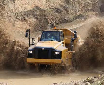 Articulated truck in mud