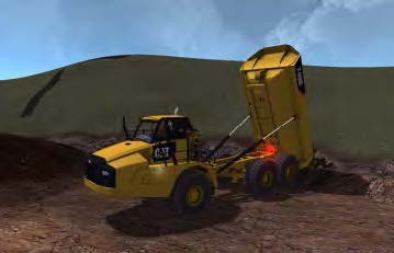 Articulated truck simulator exercise dumping