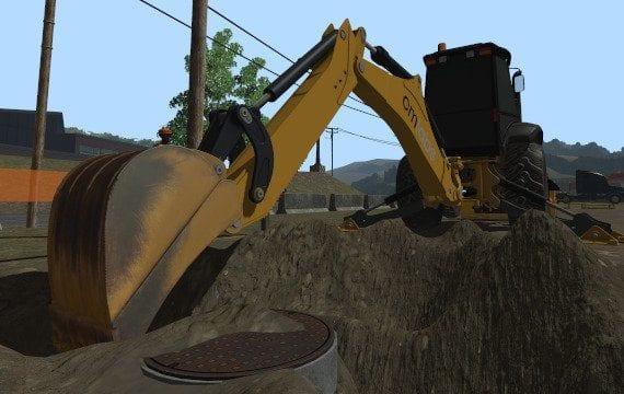 Backhoe simulator shoveling