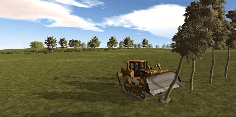 Dozer plowing trees