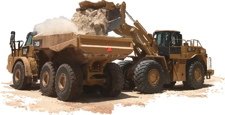 Wheel loader loading dirt