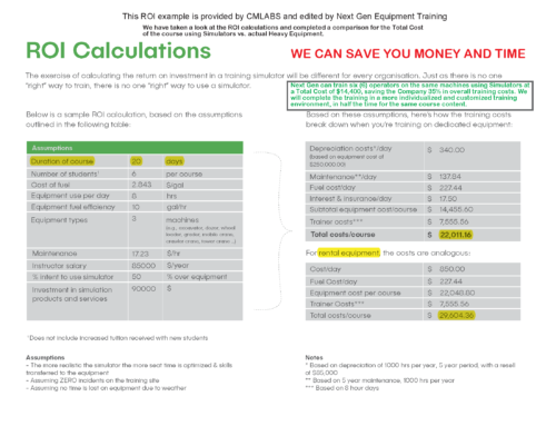 SIMULATOR BASED TRAINING ROI CALCULATIONS AND WHITE PAPER